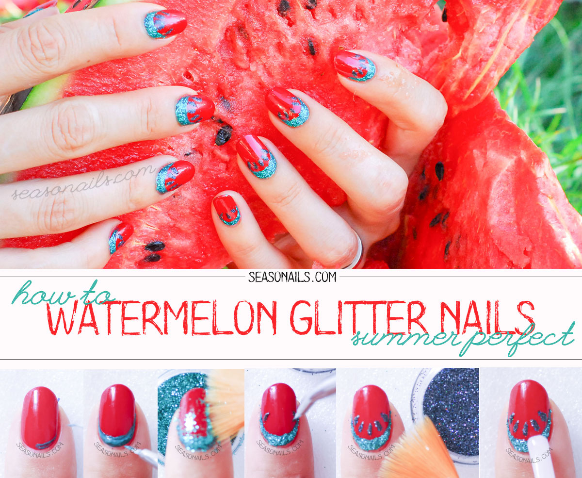 how to summer watermelon nails glitter tutorial diy