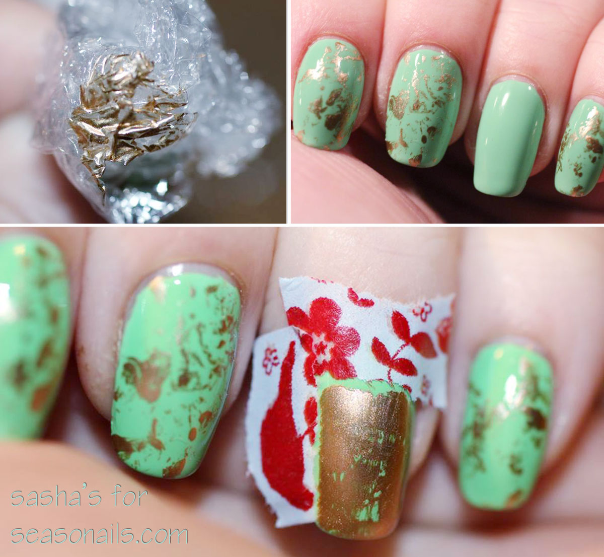 Stamped Japanese Green Tea Nails - Seasonails
