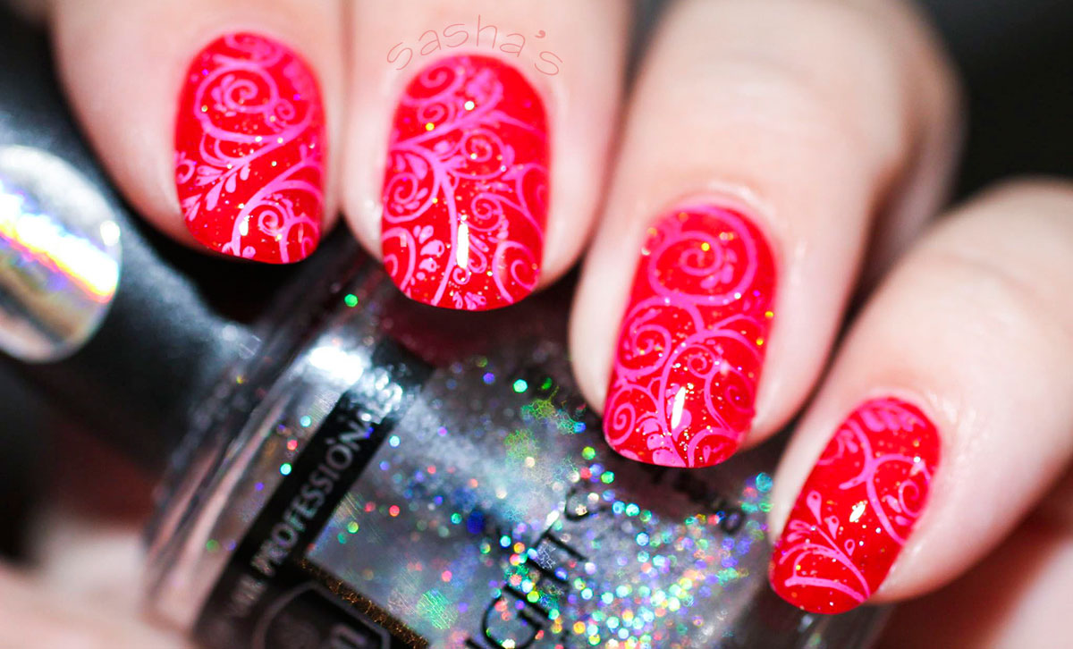 jelly stamped red nails holo topper
