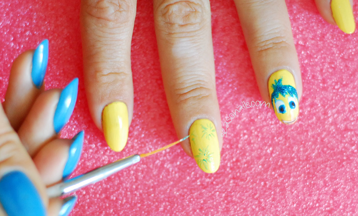 joy pixar inside out movie nails step by step
