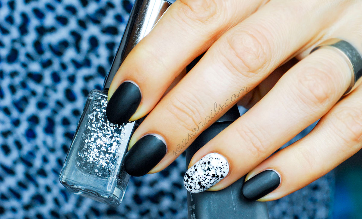 matte black nails glitter accent party manicure