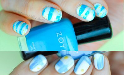 navy summer abstract nails