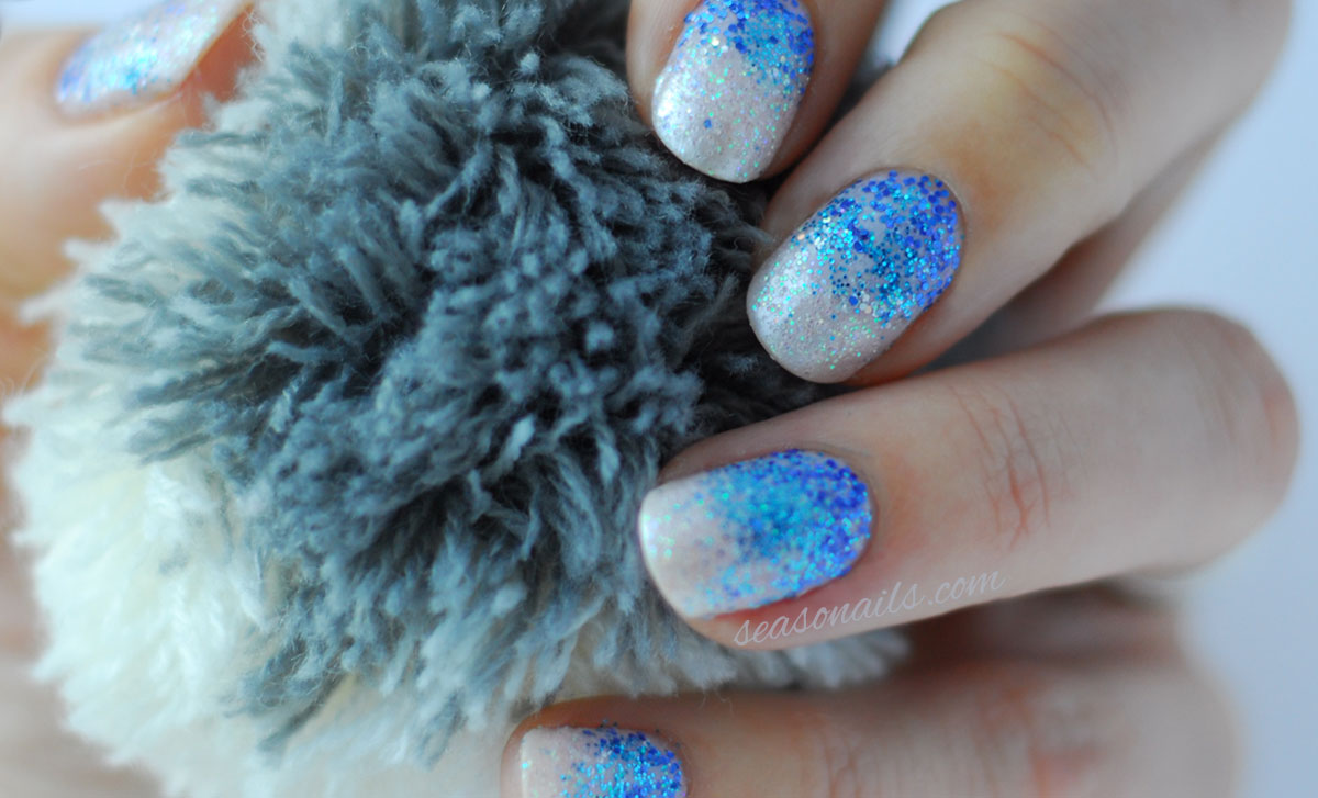 ombre glitter nails for winter