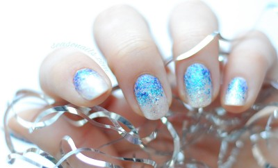 ombre glitter party nails