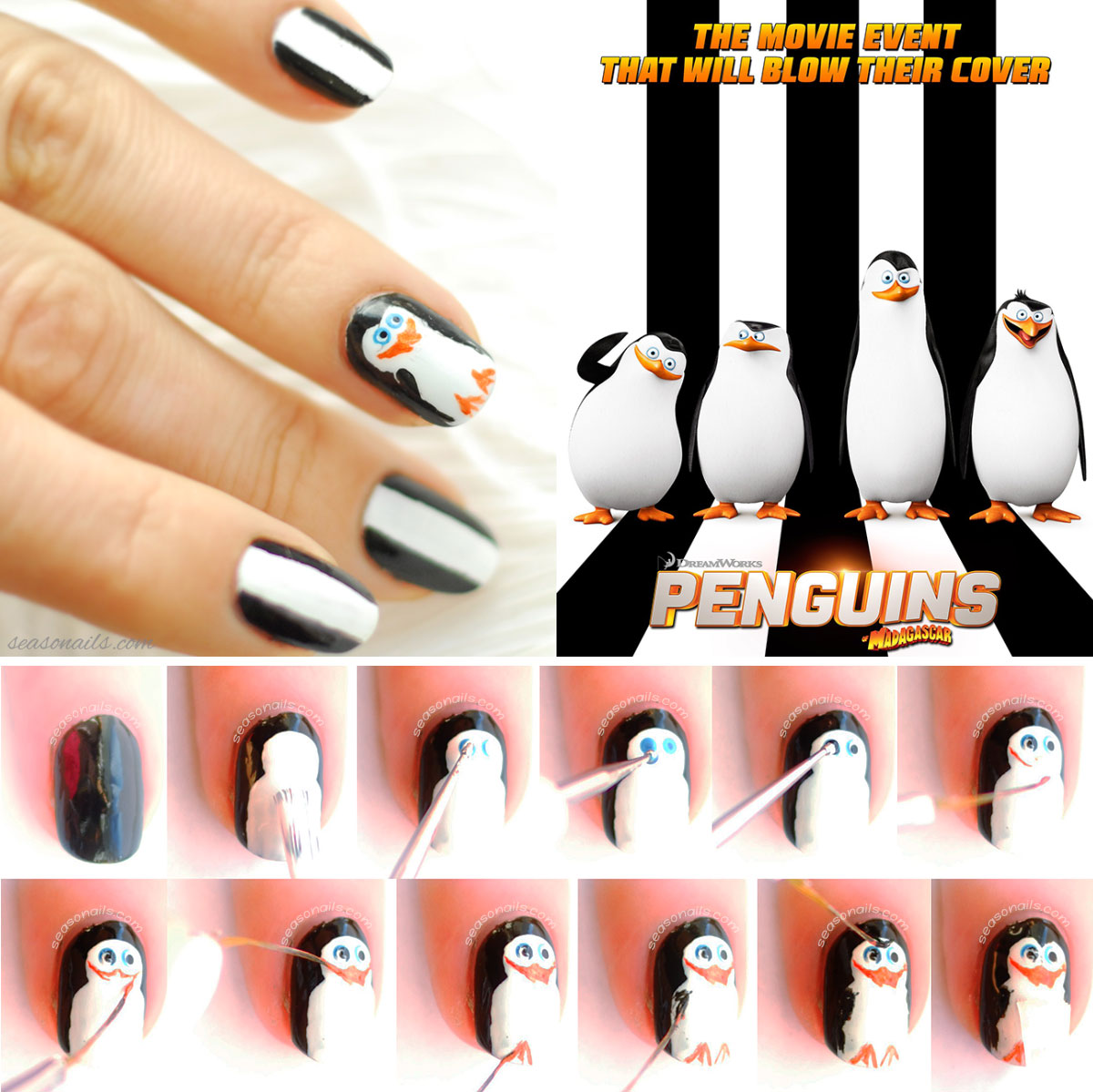 penguins of madagascar nails tutorial step by step