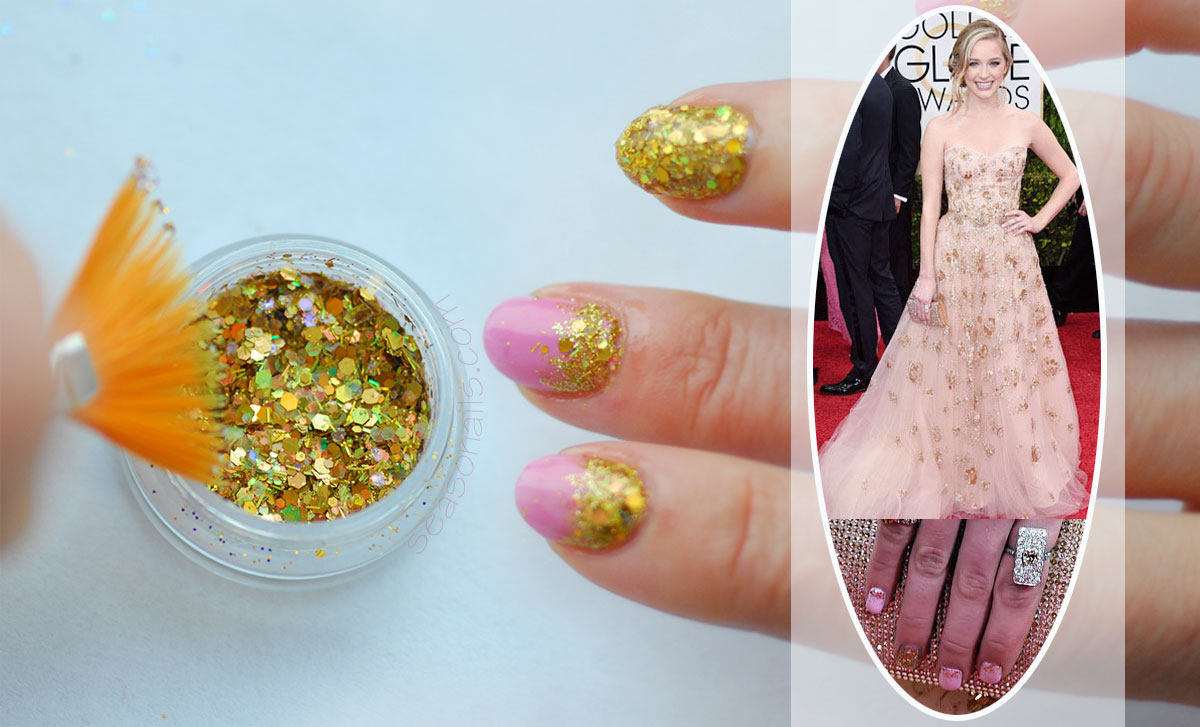 pink gold glitter red carpet nails