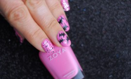 pink gothic nails halloween bats