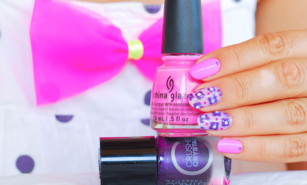 pink purple summer neon nails