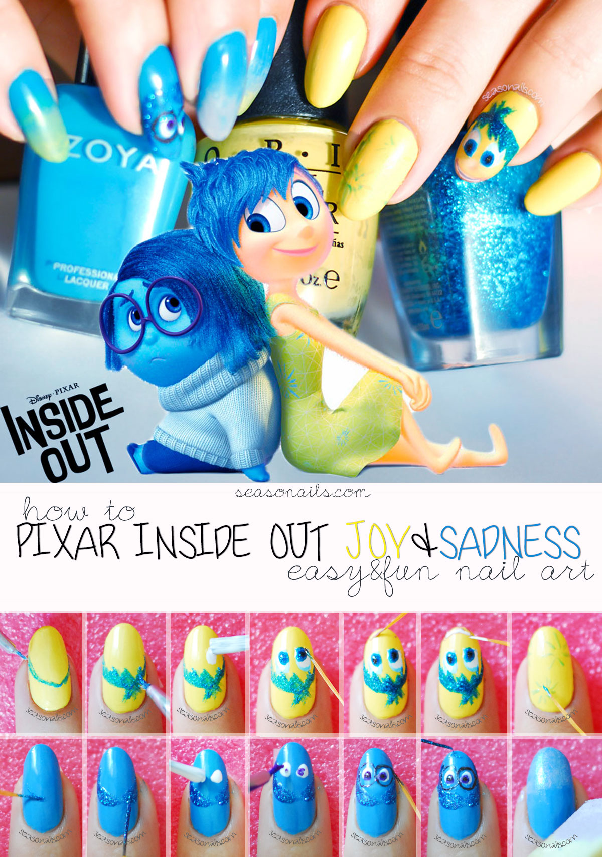 pixar inside out joy sadness nails how to tutorial nail art