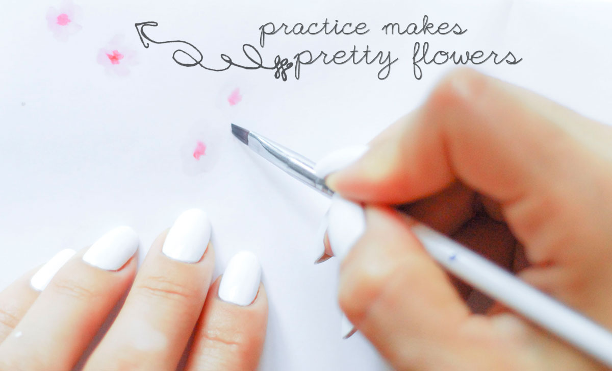 practice nail art flowers on paper
