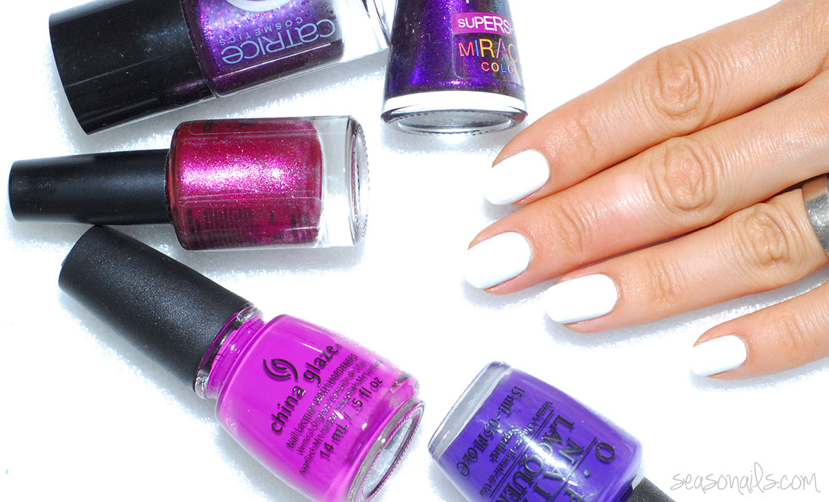 purple polishes white nails preparing nail art