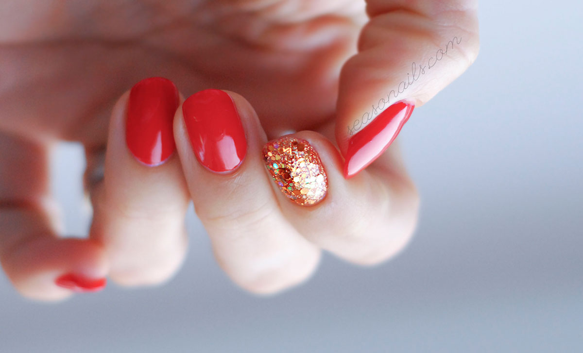 red glitter nails for party