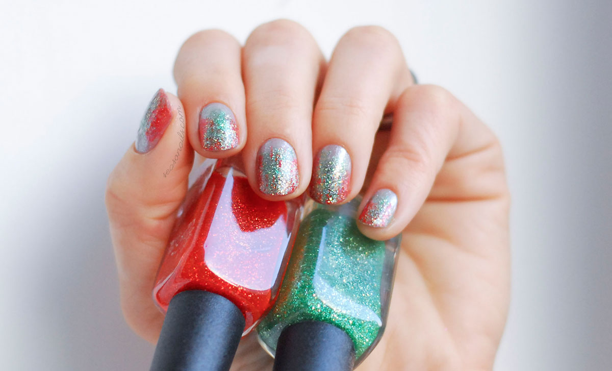red green christmas glitter nails easy seasonails