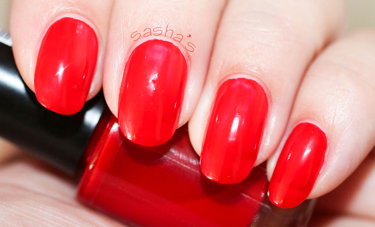 red jelly nails prepared for stamping