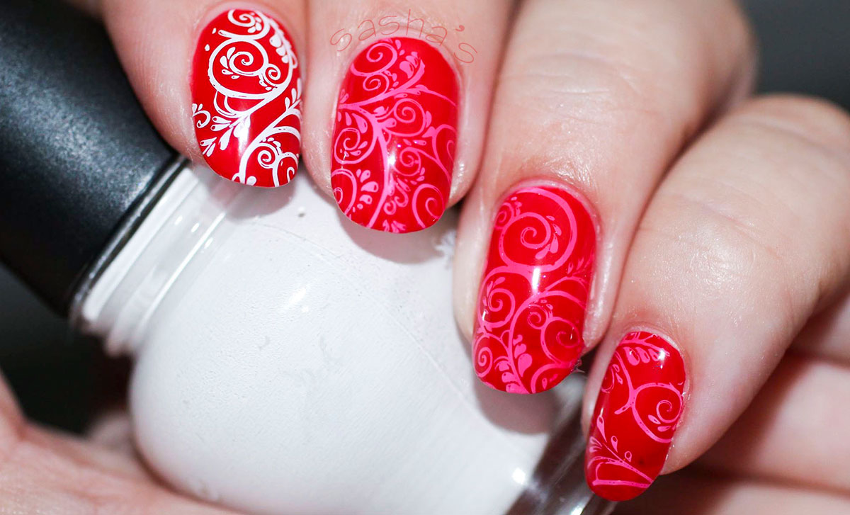 red white stamped nails summer