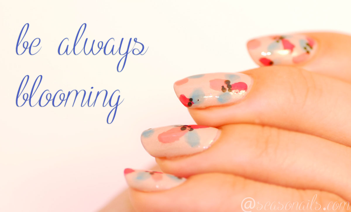 retro flowers nail art Seasonails