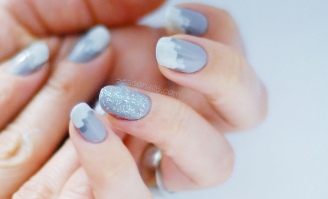 Winter Easy Nail Art Silver Lining Clouds Mani Seasonails