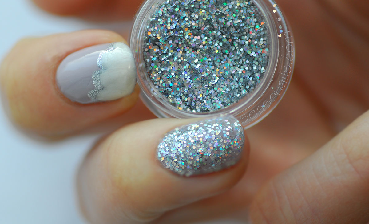 silver lining clouds winter nail art with glitter