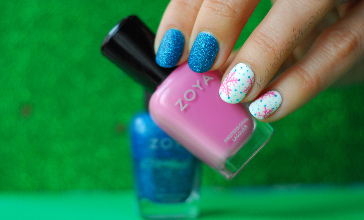 snowflakes pink blue winter nails