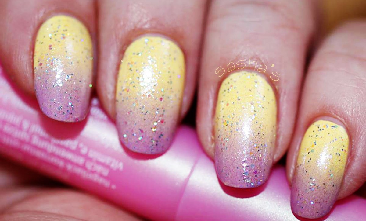 spring gradient pink yellow nails