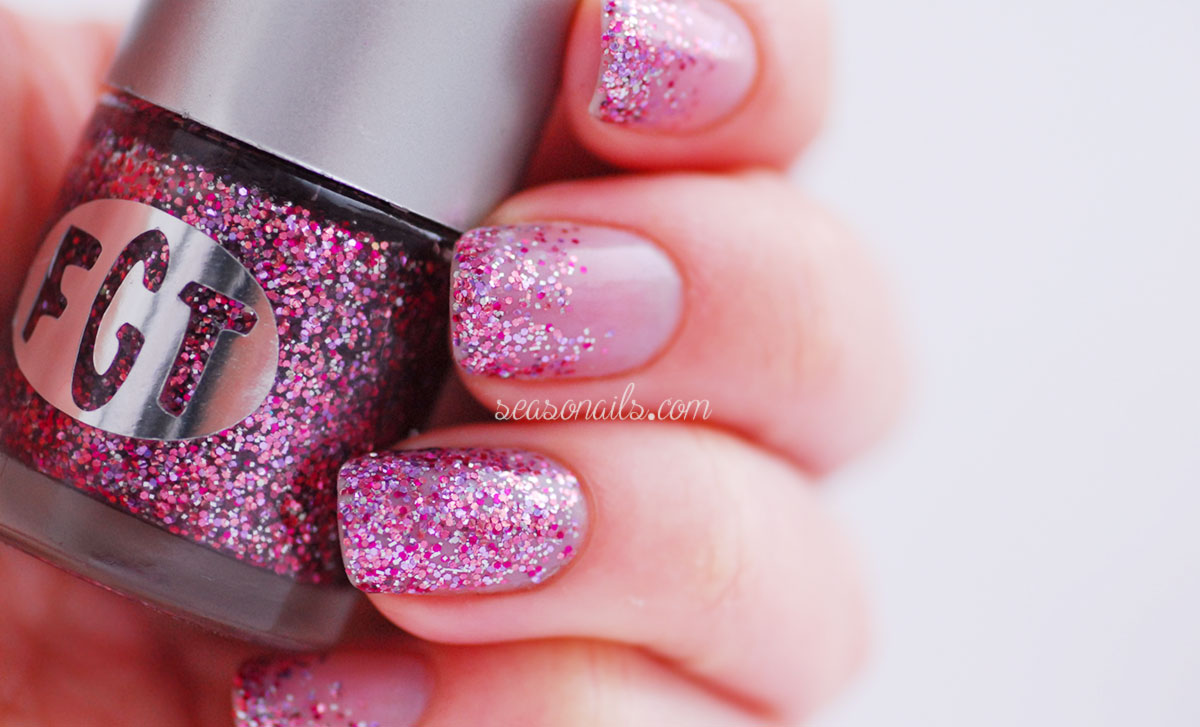 spring nails pink glitter FGT Sweet Pea Seasonails