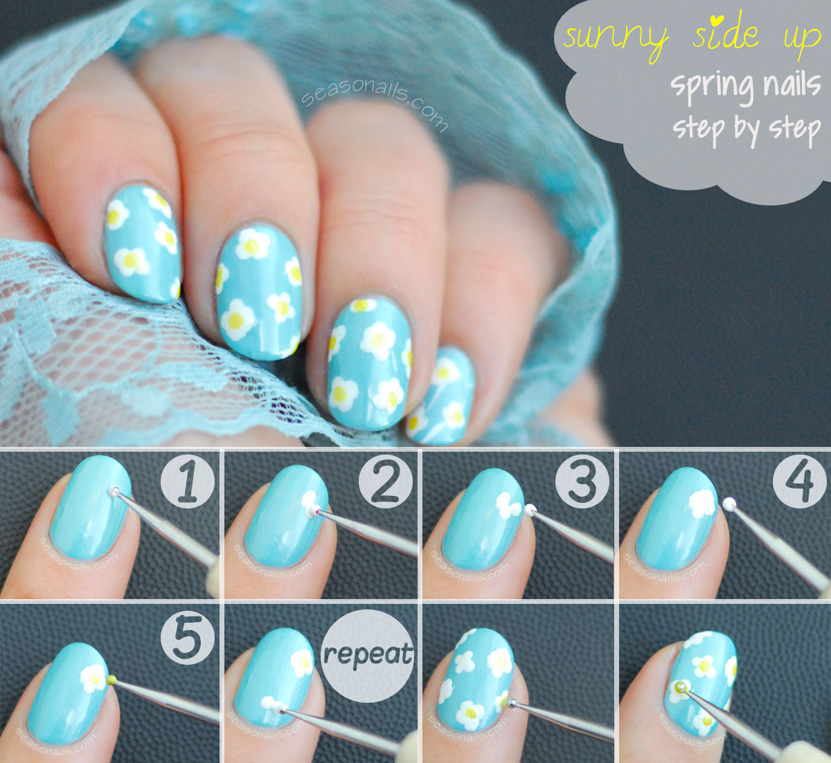 spring nails tutorial sunny flowers mani