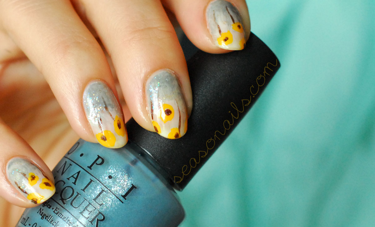 spring summer yellow poppy nails