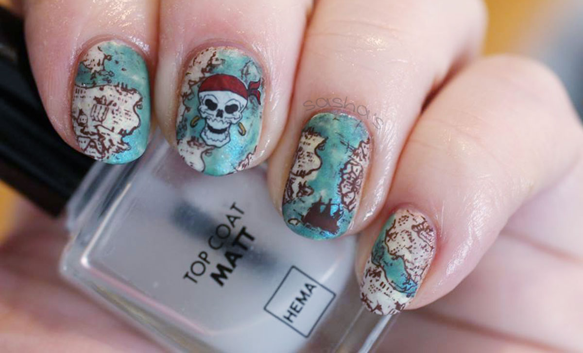 stamped pirates treasure map nails