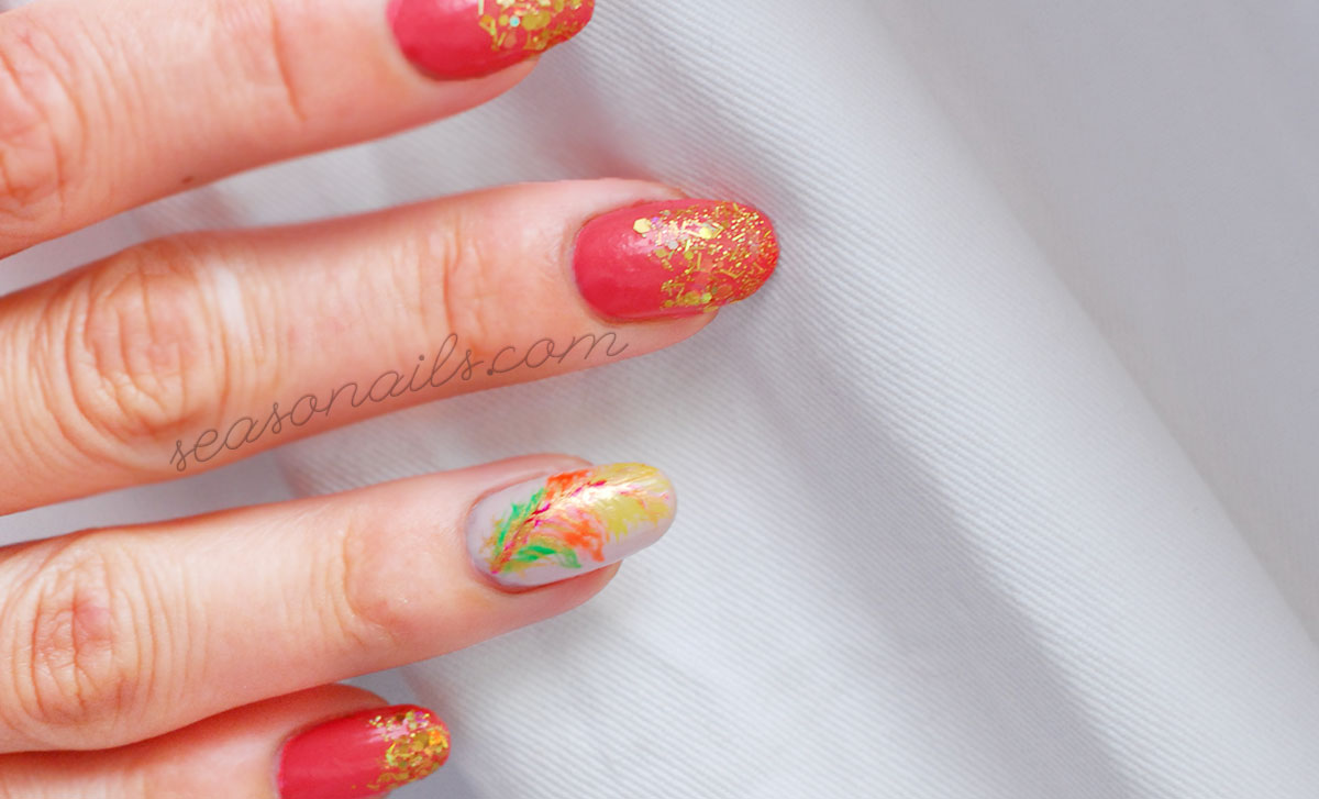 summer feather nail art