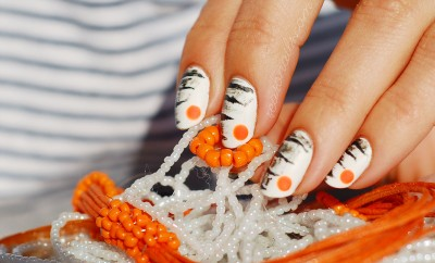 summer mani abstract zebra nail art