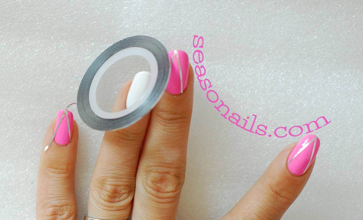 summer pink chevron stiletto nails
