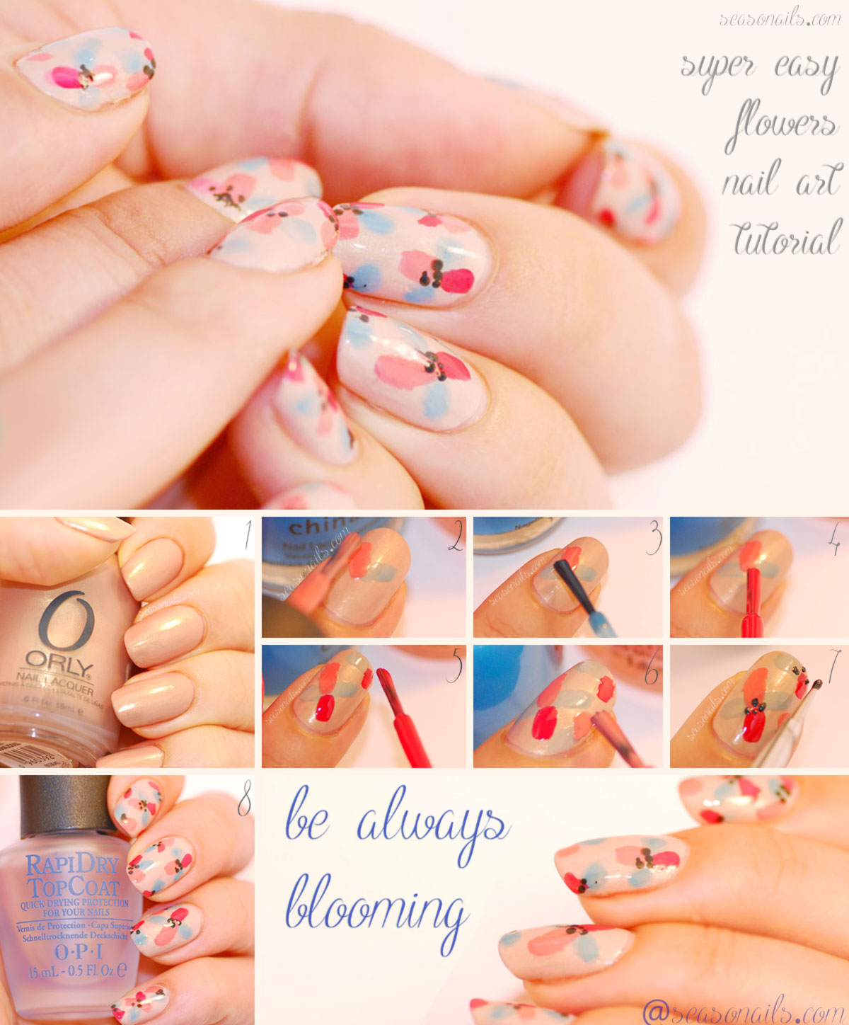 super easy flowers nail art tutorial Seasonails