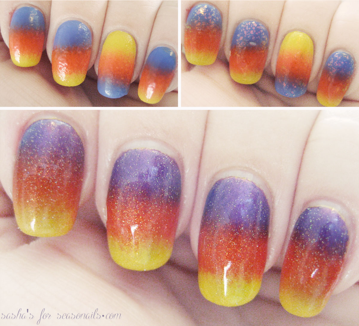 tropical sunset mani gradient tutorial Seasonails Sasha s