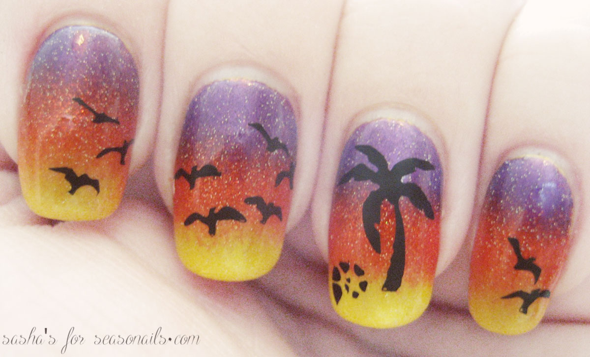 tropical sunset mani stamping tutorial Seasonails Sasha s