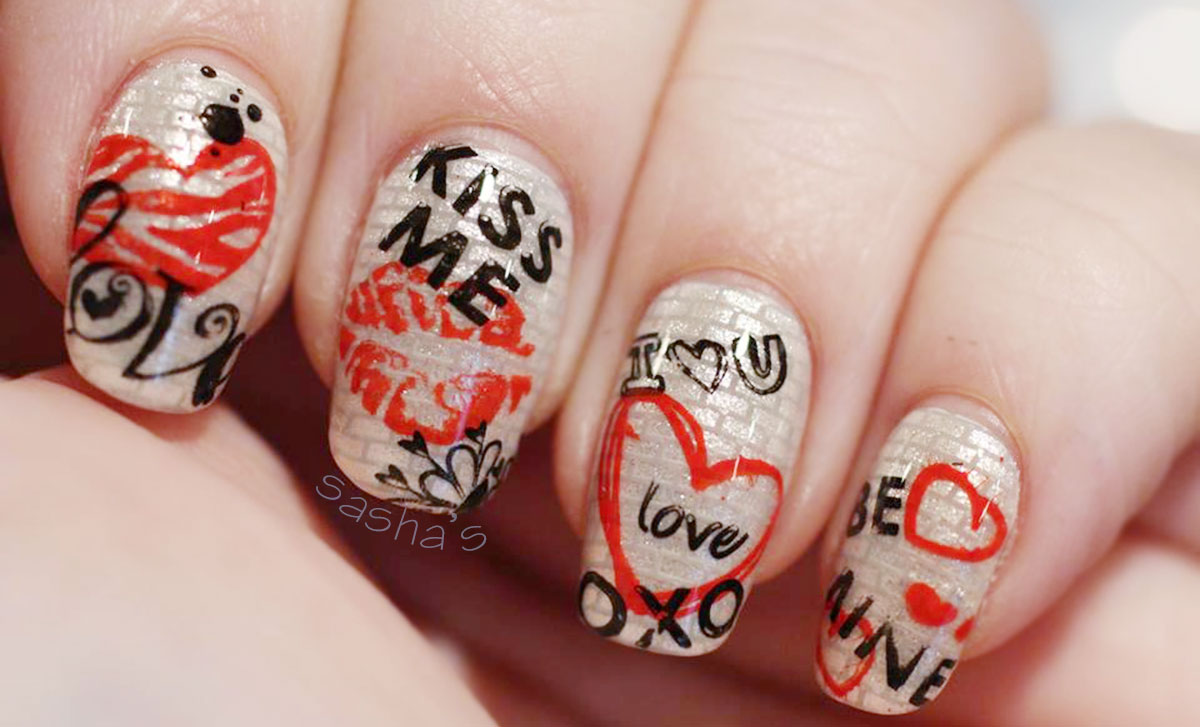 valentine s day graffiti stamped edgy nails