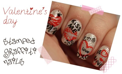 valentine s day stamped nails