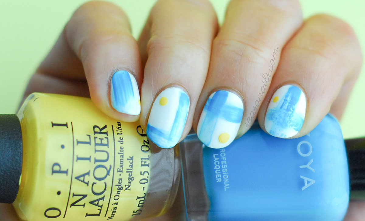 watercolor abstract navy summer nails