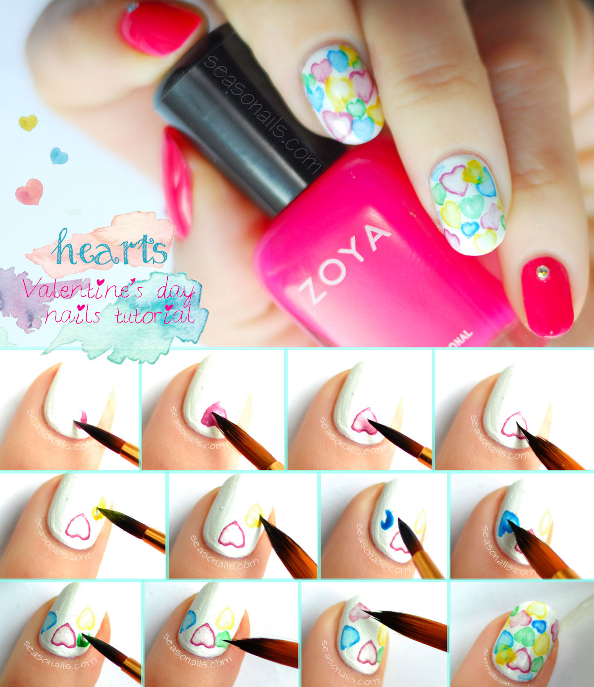 watercolor hearts valentines day nails tutorial