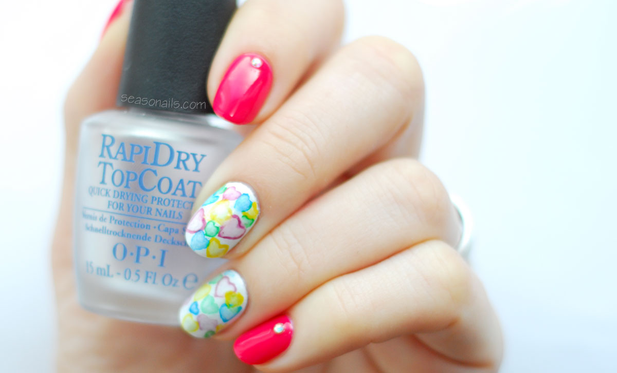 watercolor valentine s day nails