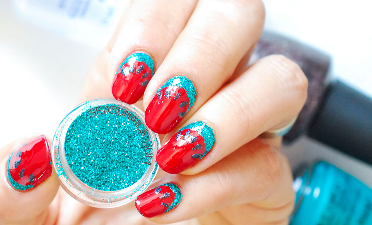 watermelon glitter nails green glitter