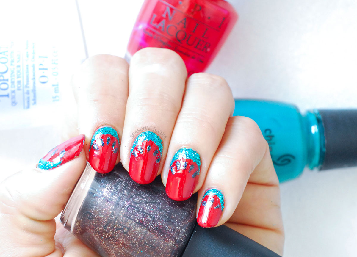 watermelon summer nails