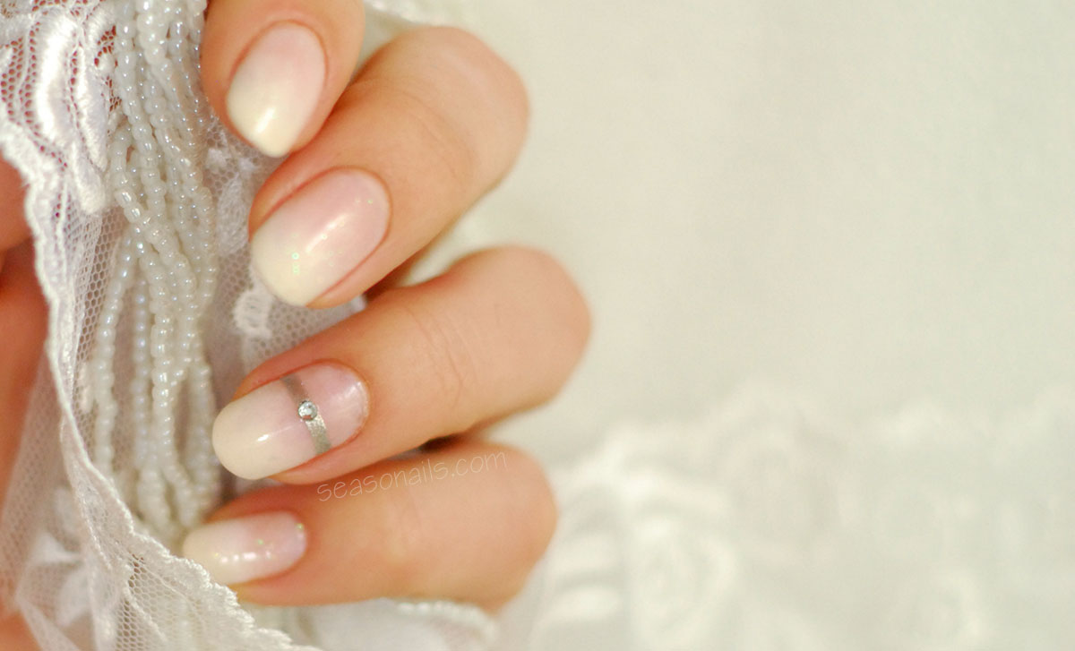 wedding bridal nails white silver