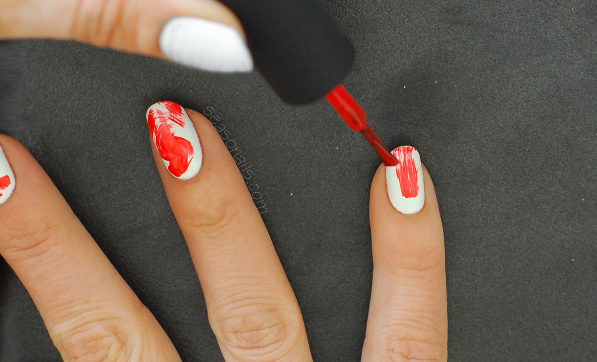 white red abstract nail art how to